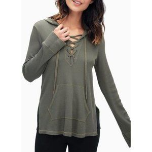 Splendid Thermal Lace-up Hoodie Olive Size Small